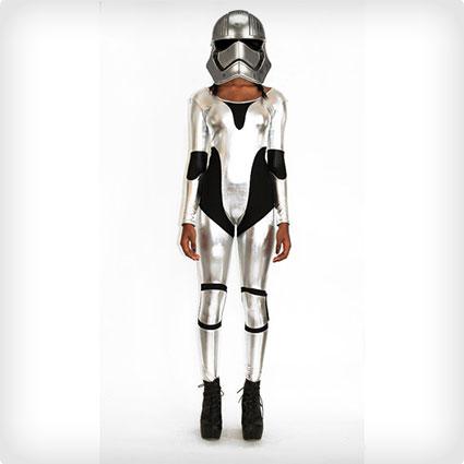 Captain Phasma Stormtrooper Silver Catsuit Costume