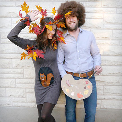 DIY Bob Ross and Tree Costumes