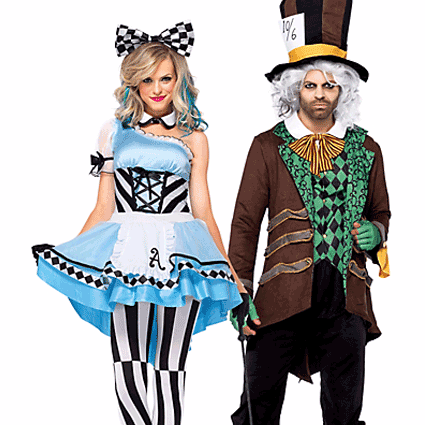 Harlequin Alice and Mad Hatter Couples Costumes