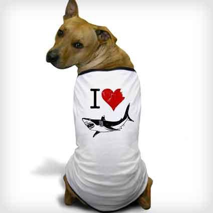 I Love Sharks Dog Shirt