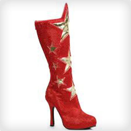 Red Superhero Star Boots for Women