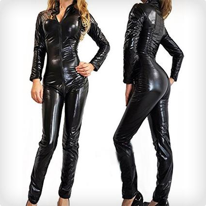 Black Wet Look Metallic Catsuit