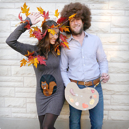 Bob Ross, Happy Tree & Squirrel DIY Family Costume