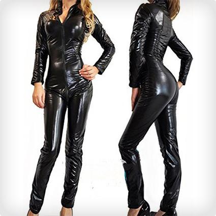 PVC Black Plus Size Catsuit