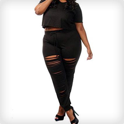 Plus Size Crop Top & Slit Pants Set