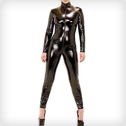 Plus Size Spandex Wetlook Bodysuit