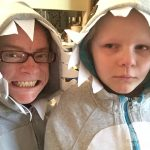 Homemade Father and Daughter Shark Hoodie Costumes