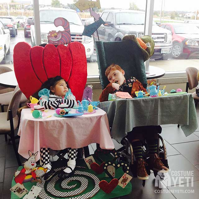 Alice and Her Mad Hatter Wheelchair Costume