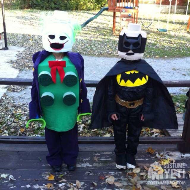 Homemade LEGO Batman and LEGO Joker Costumes