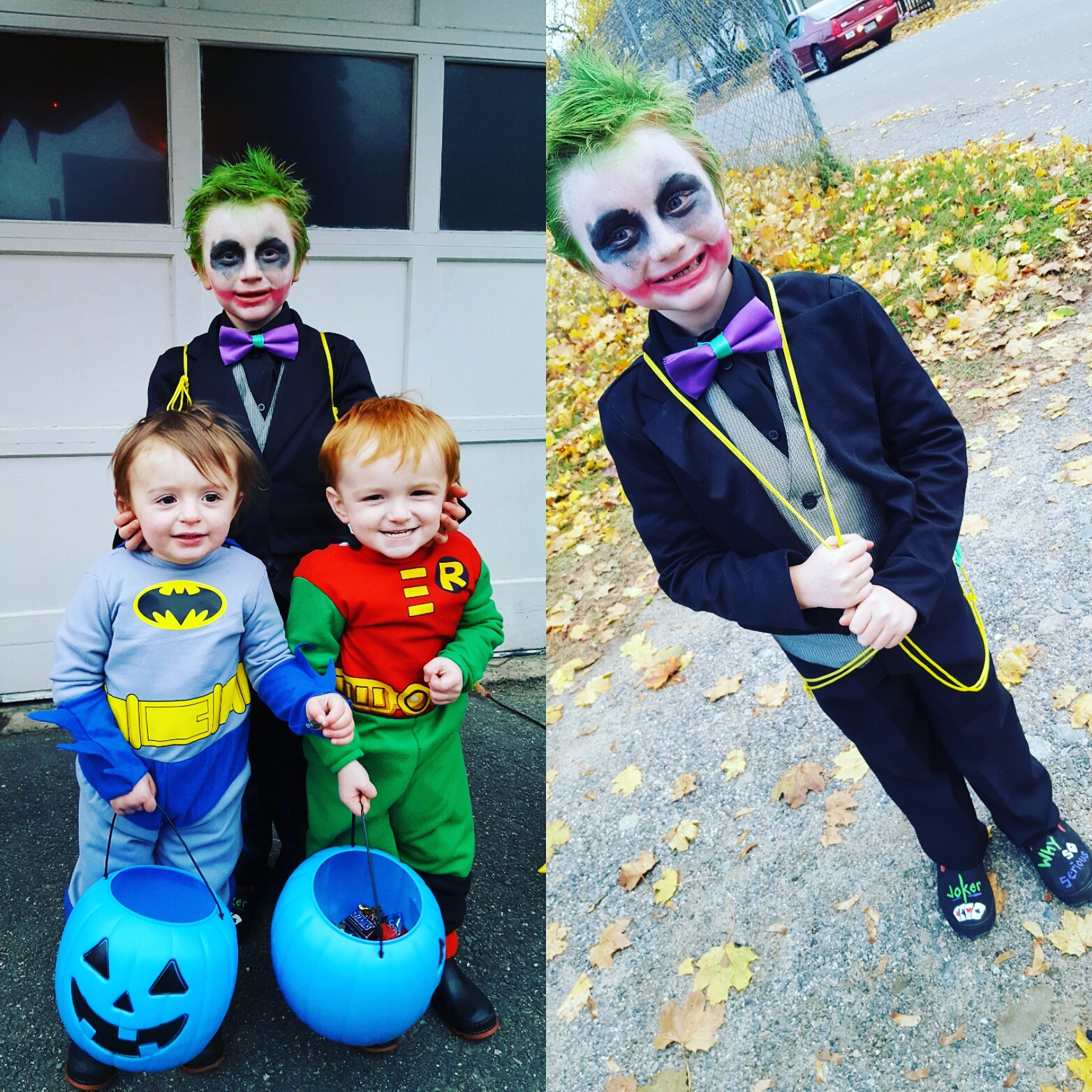 Diy Joker Costume With Twin Brothers As Batman And Robin